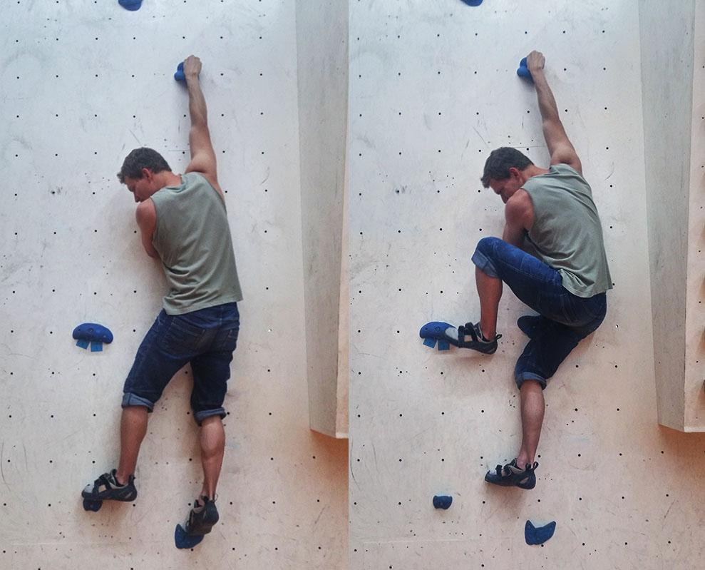 Wer sich an der Wand komplett streckt, bekommt Probleme, die Füße nachzuholen.